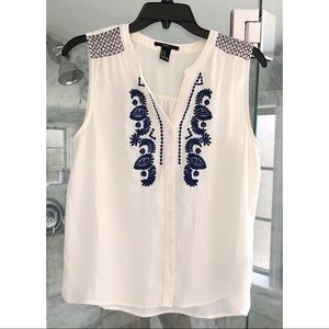 Blue and White Embroidered Tank